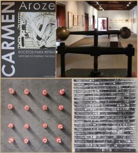 Carmen Arozena-Preis 2018: Unten die beiden Sieger-Grafiken - oben der Blick in den Raum des Inselmuseums im Franziskanerkloster in Santa Cruz, wo alle Gewinner dieses seit 46 Jahren ausgetragenen Wettbewerbs