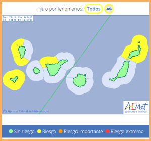 Von Südost über West bis hinauf in den Norden: hohe Brandung ist auf der Isla Bonita angesagt. Grafik: AEMET