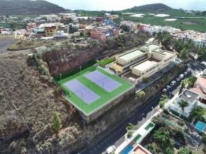 Modellbild der neuen Tennisplätze: Auch für große Matches geeignet. Foto: Los Llanos