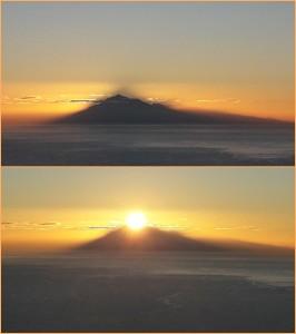 Rolf hat uns drei Handy-Fotos vom Sonnenaufgang im Osten geschickt: Zwar kann nur eines Foto