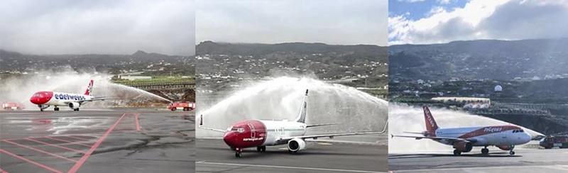 """Überraschung am Airport SPC: Norwegian fliegt ein. Mit einem Wasserbogen wurde gestern überraschend eine Maschine der norwegischen Airline Norwegian auf dem Flughafen von Santa Cruz de La Palma (SPC) empfangen - eigentlich war dies keine Premiere, denn der Low-Cost-Carrier flog schon im Winter 2014/15 ab London auf die Isla Bonita. Nach Angaben des Cabildos wird die Fluggesellschaft mit dem roten Heck und der roten """"Schnauze"""" in der aktuellen Wintersaison bis zum 27. März 2019 von Stockhom in Schweden via Göteburg einmal wöchentlich die Isla Bonita ansteuern. Eigentlich waren bisher keine Flüge von Norwegian für den Winter 2018/19 auf die Isla Bonita avisiert - deshalb bleibt zu vermuten, dass diese skandinavische Airline den Transport der Passagiere der Anfang Oktober 2018 in Konkurs gegangene Primera Air übernommen hat."""