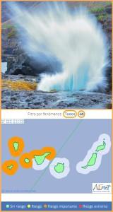 Wellen: wunderschön zum Fotografieren, aber das kann lebensgefährlich sein, insbesondere bei Alarm Orange. Foto: Facundo Cabrera/Grafik: AEMET