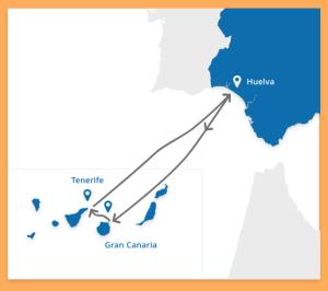 Dreiangel von Huelva über Gran Canaria nach Teneriffa und zurück: Die Route der