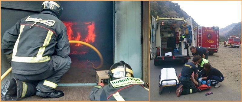 """Bomberos sind laufend im Einsatz. Die Freiwillige Feuerwehr von La Palma hat jetzt ihre Bilanz für das Jahr 2018 vorgelegt. Demnach rückten die Bomberos Voluntarios 259 Mal aus, um Feuer zu löschen, 456 Mal führten sie präventive Maßnahmen aus, 81 Mal retteten sie Menschen - darunter auch beim Wandern -, 139 Mal halfen sie bei Unfällen. Dazu kamen 536 """"verschiedene"""" Einsätze."""
