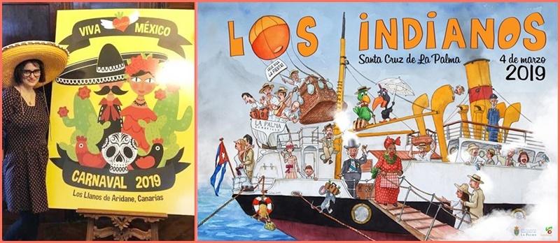 Die Motoren laufen langsam an: Los Llanos (links) und Santa Cruz präsentieren ihre Karnevalsplakate.