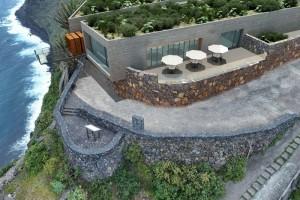 Modell des Miradors in Gallegos: Besucherzentrum und Restaurant 300 Meter über dem Atlantik im Norden.