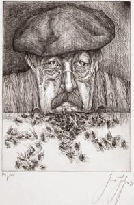 Selbstporträt von Günter Grass: Der Literatur-Nobelpreisträger war auch ein erfolgreicher Zeichner, und einige seiner Werke entstanden auf der Kanareninsel La Palma.