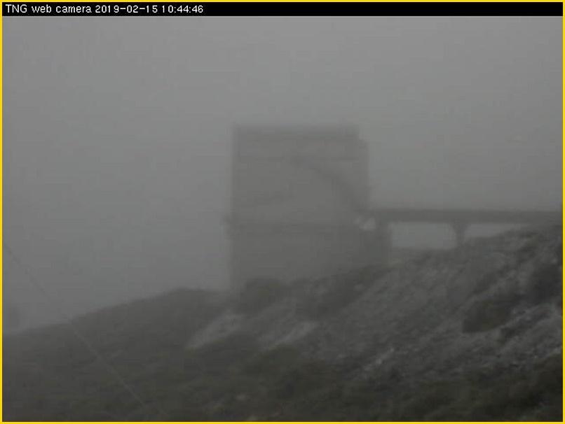 Noch ein Tipp zum Schluss für Inselgäste: Ein Ausflug auf den Roque de Los Muchachos ist am heutigen Freitag, 15. Februar 2019, nicht empfehlenswert: In den oberen Regionen beginnt es zu schneien! Foto: Webcam TNG