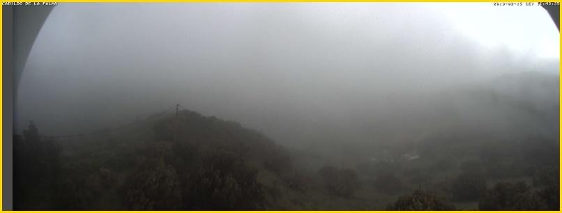 San Antonio del Monte am Freitagmorgen: Nebel und leichter Regen - das ist gut, damit der Waldbrand nicht wieder aufflammt. Foto: Webcam