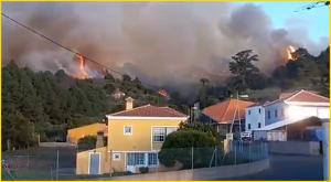 Es war anfangs äußerst brenzlig: Starkwind fachte die Flammen in Garafía in der Zone von Llano Negro an - 20 Personen wurden vorsorglich evakuiert. Foto: aus BRIF-Video