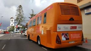 Der Guagua ist ein mobiles Labor: Blutspenden gleich vor der Haustür. Foto: