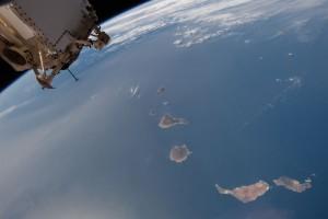 Auch solche Fotos finden sich auf der Facebookseite der Palmeros en el Mundo: aktuelles Wetter - ein Calima zieht an. Foto: NASA