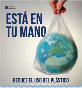 Plakat der Kanarenregierung im Zuge der Anti-Plastik-Strategie: Die Welt liegt in Sachen Kunststoffvermeidung in den Händen jedes Einzelnen.