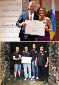 """Maro Parque-Gründer Rafael Martín Romera bei der Preisverleihung der AEDEEC (oben) und sein Team im Zoo (unten): """"Wir sind sehr glücklich über diese Anerkennung""""."""