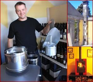 Die Installation ist kein Problem: Marcel John ist Schornsteinbauergeselle und hat das Zubehör für die Öfen im Laden.