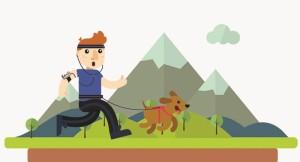 Mensch-Hund-Wettlauf auf dem alten Flughafen.