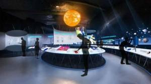 Modell eines der Ausstellungssäle: Die Einrichtung erinnert an ein Raumschiff.