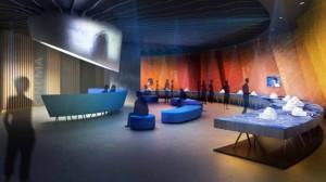 Dieses Modell gibt Ausblicke auf den Saal mit Großleinwand für himmlische Projektionen.