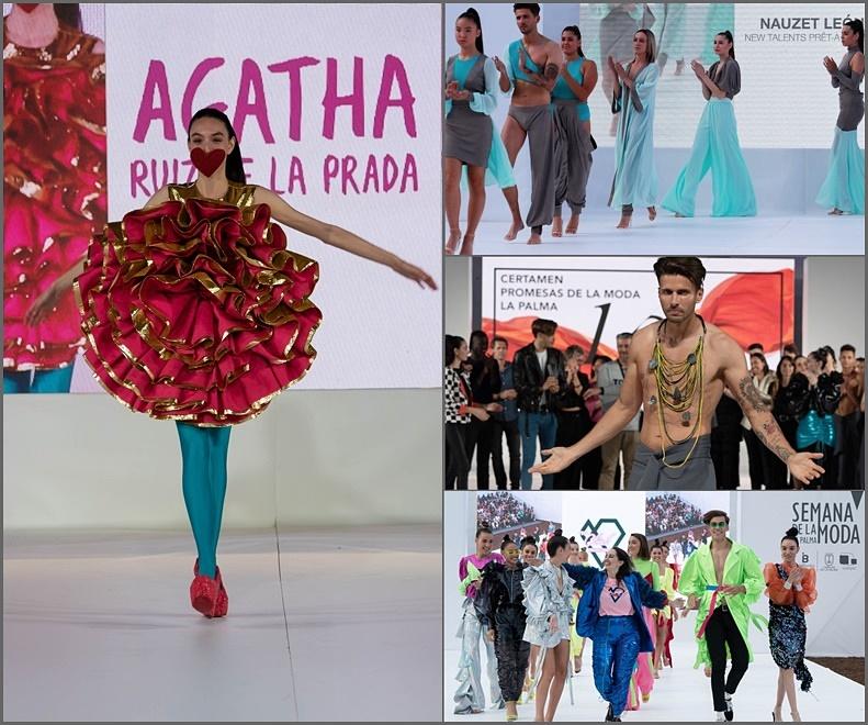 Semana de La Moda La Palma: links das Tulpenkleid aus Hilandera-Seide von Ágatha Ruiz de La Prada - rechts die Sieger