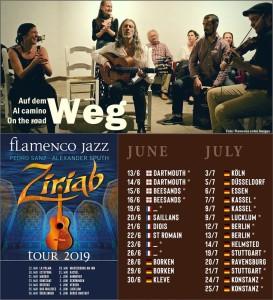 Ziriab und die Flamenco entre Amigos sind bald wieder auf dem Weg: Europatournee 2019, aufs Bild klicken, dann kann man die Daten lesen.