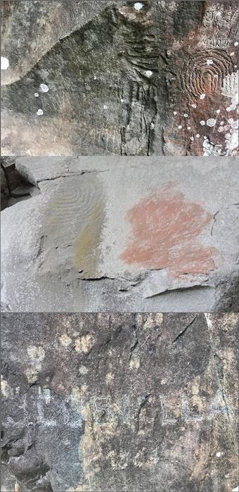 Grafities in La Zarza und in der Calerda auf den Steinzeichen der Benahoaritas: Einzelne richten in fünf Minuten immense Schäden an.
