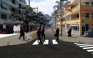 So soll es mal aussehen: Derzeit ist die Calle Cruz Roja jedoch von Baggern aufgerissen und nur einspurig befahrbar.